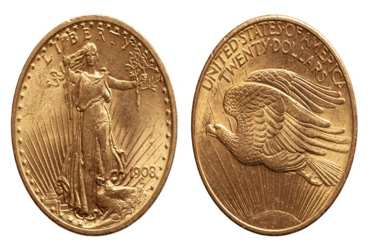 US Twenty 20 Dollars Gold Coin isolated of whtie background, conservation very fine